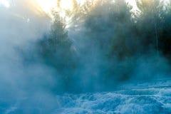 有薄雾的日出,债券秋天 免版税库存图片