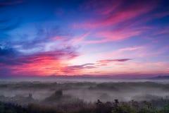 有薄雾的日出 库存图片