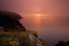 有薄雾的日落 免版税库存照片