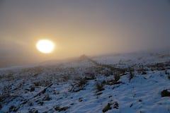 有薄雾的日落 免版税图库摄影