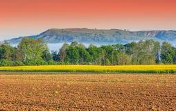 有薄雾的早晨、油菜领域和五颜六色的天空,特兰西瓦尼亚,罗马尼亚 免版税图库摄影
