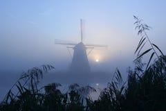 有薄雾的早晨风车 库存图片