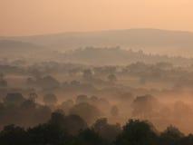 有薄雾的早晨towy谷 免版税库存照片