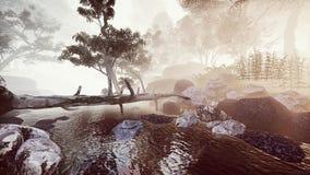 有薄雾的有雾的河在森林里 向量例证