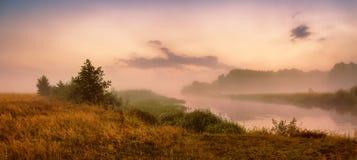 有薄雾的河早晨 全景 温暖的夏天早晨 免版税库存照片