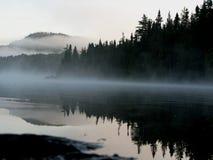 有薄雾的湖边 库存图片