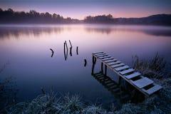 有薄雾的湖 免版税库存照片
