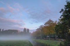 有薄雾的秋天早晨 免版税库存图片