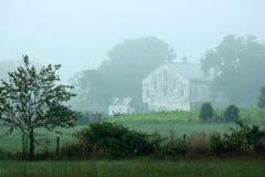 有薄雾的谷仓 免版税库存图片
