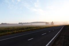 有薄雾的路通过与路标和不良视界的绿色领域 免版税库存图片