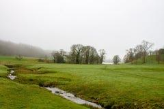 有薄雾的风景在Wharfedale 库存图片