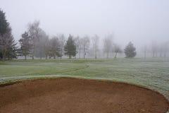 有薄雾的高尔夫球场地堡 免版税库存图片