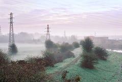 有薄雾的黎明 库存照片