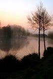 有薄雾黎明的湖 库存图片