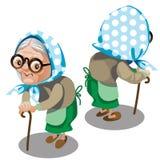 有藤茎的老妇人 八字砖 向量 库存例证