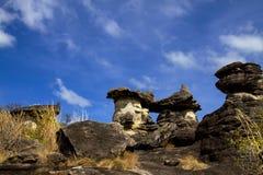 有蘑菇石头的妖怪 库存图片