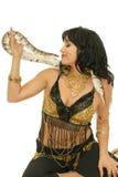 有蛇的微笑的女孩 免版税库存照片