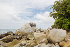 有蛇头石头的Pandang海岛Batubara 库存照片