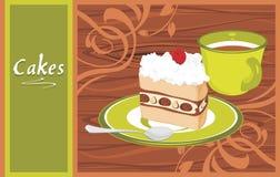 有蛋糕和咖啡杯的茶碟在木后面 图库摄影