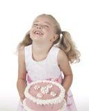 有蛋糕的女孩 免版税图库摄影