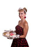 有蛋糕的画报女孩 免版税库存图片