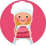 有蛋糕面包师的女孩 免版税库存照片