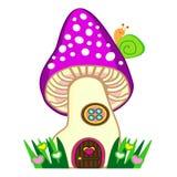有蜗牛传染媒介例证的神仙的蘑菇房子 免版税库存图片