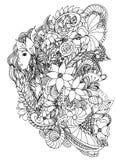 有蜗牛的美丽的妇女 彩图成人的设计 库存图片