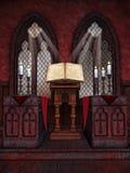 有蜡烛的中世纪教堂 图库摄影