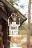 有蜡烛的装饰灯笼在秋天公园晚上 免版税图库摄影