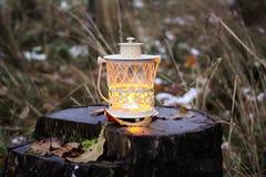有蜡烛的装饰灯笼在秋天公园晚上 库存图片