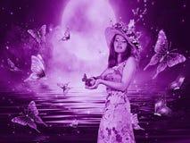 有蝴蝶的美丽的神秘的女孩 库存图片