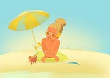 有螃蟹的晒日光浴的女孩 向量例证