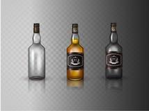 有螺帽的玻璃白兰地酒瓶,隔绝在白色背景 向量例证