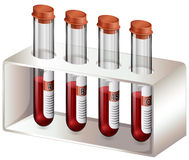 有血样的试管 库存例证