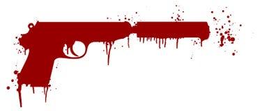 有血液的手枪 皇族释放例证