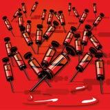 有血液的许多小注射器 免版税库存照片