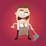 有血淋淋的柴刀和围裙的精神病患者 免版税库存图片