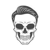 有行家头发的年轻时髦的头骨 库存图片