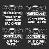 有行情的黑板关于咖啡 库存图片