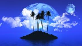 有行星的棕榈树海岛在天空 向量例证