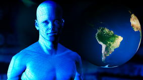 有行星转动的数字式人。世界和技术 向量例证
