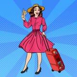 有行李和旅行票的流行艺术妇女 图库摄影