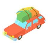 有行李和箱子象的红色汽车 免版税图库摄影