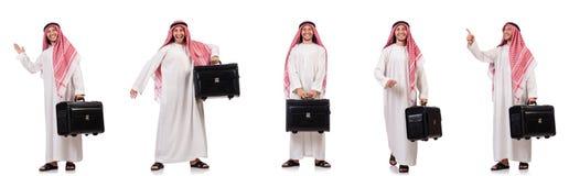 有行李的阿拉伯人在白色 库存图片