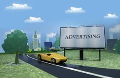 有街道广告牌和一辆黄色跑车的纸镇 库存图片
