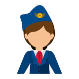 有衣服和帽子的半身体空服员 免版税库存照片