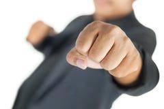 有衣服被隔绝的拳头猛击的人 免版税库存图片