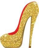 有衣服饰物之小金属片的时尚鞋子 免版税库存照片