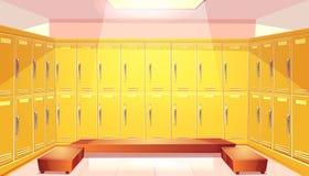 有衣物柜的传染媒介学校更衣室 库存例证